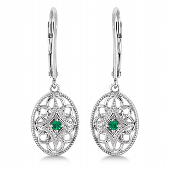 Leverback Vintage Emerald Earrings in Sterling Silver (0.06ct)