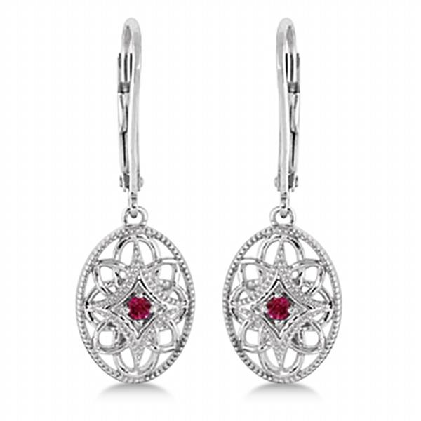 Leverback Vintage Ruby Earrings in Sterling Silver (0.06ct)