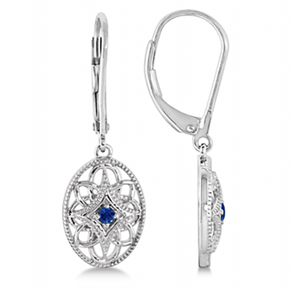 Leverback Vintage Sapphire Earrings in Sterling Silver (0.06ct)
