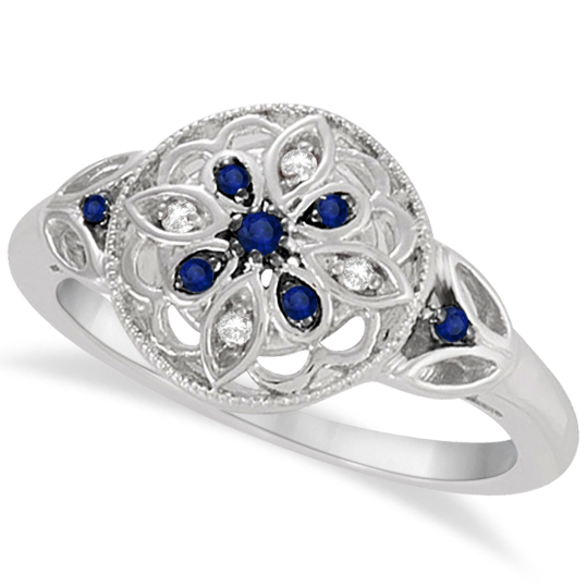 Vintage Diamond and Sapphire Flower Ring Sterling Silver (0.12ct)