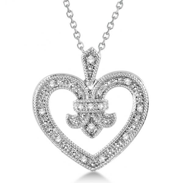 Diamond Fleur De Lis Heart Pendant Necklace Sterling Silver 0.10ct