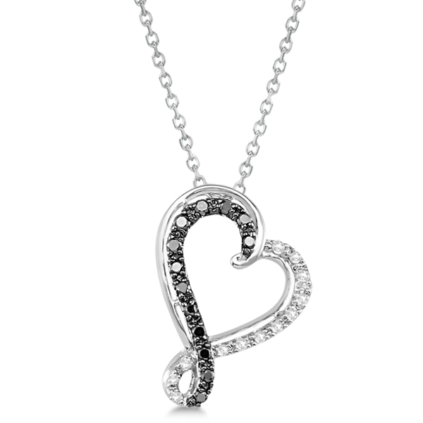 Black & White Twisted Diamond Heart Necklace Sterling Silver 0.21ct