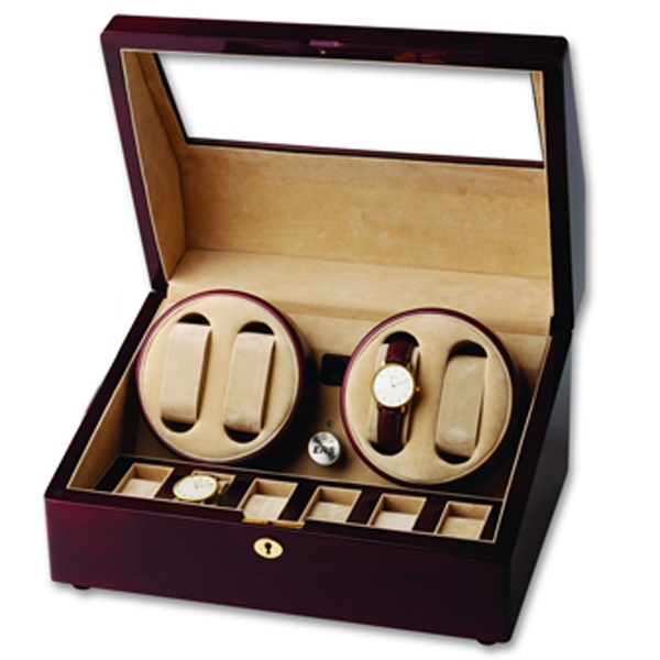 Wooden Quad Watch Winder and Display Case for Six Additional Timepieces