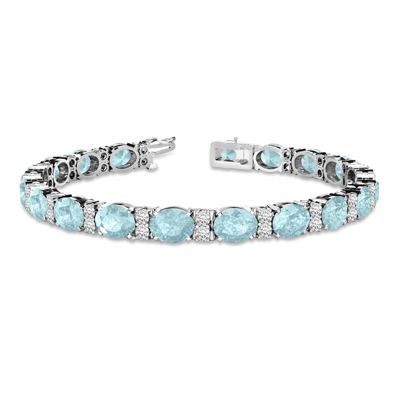 Diamond & Oval Cut Aquamarine Tennis Bracelet 14k White Gold (13.62ct)