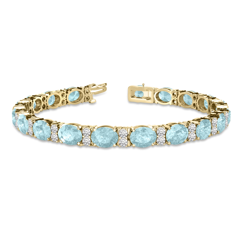 Diamond Oval Cut Aquamarine Tennis Bracelet 14k Yellow Gold