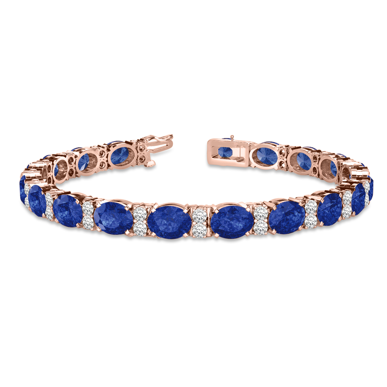 Diamond & Oval Cut Sapphire Tennis Bracelet 14k Rose Gold (13.62ctw)