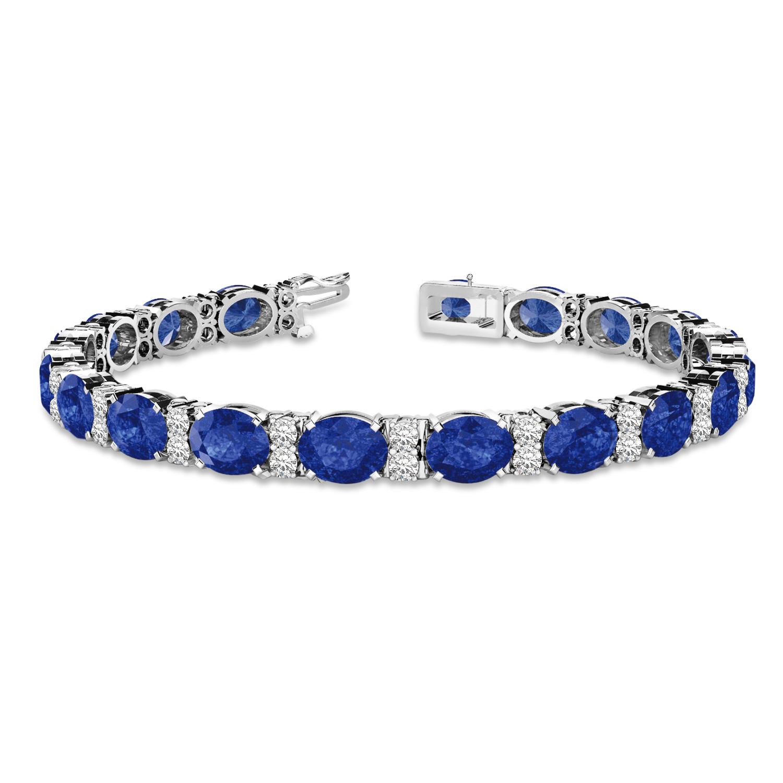 Diamond & Oval Cut Sapphire Tennis Bracelet 14k White Gold (13.62ctw)