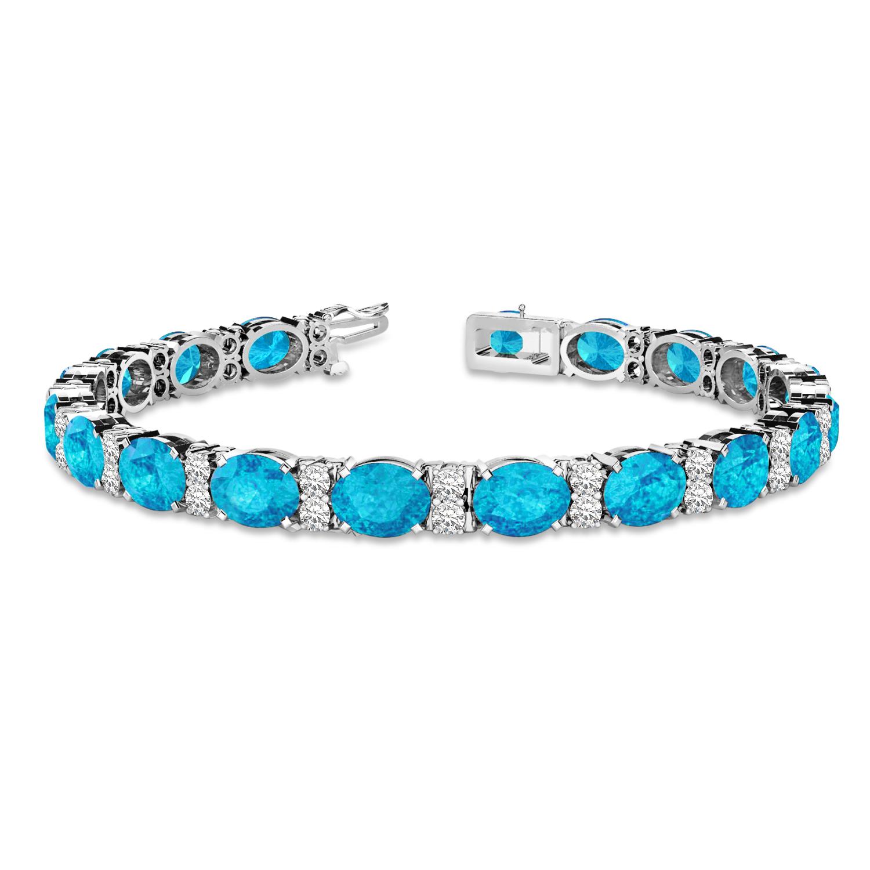 Diamond & Oval Cut Blue Topaz Tennis Bracelet 14k White Gold (13.62ct)