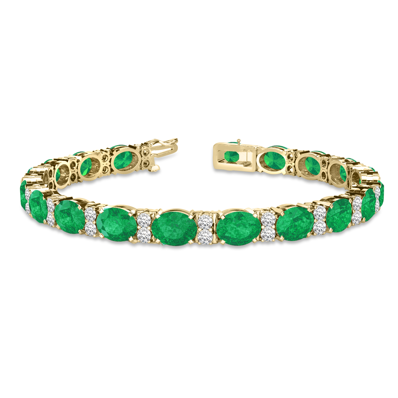 Diamond & Oval Cut Emerald Tennis Bracelet 14k Yellow Gold (13.62ctw)