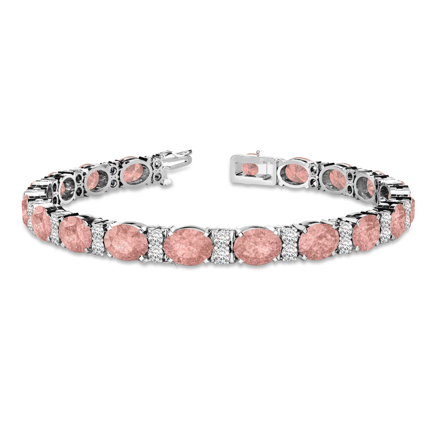 Diamond & Oval Cut Morganite Tennis Bracelet 14k White Gold (13.62ct)