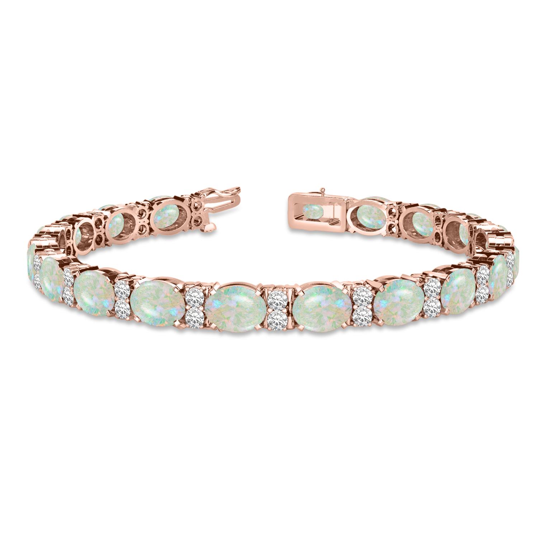 Diamond & Oval Cut Opal Tennis Bracelet 14k Rose Gold (13.62ct)
