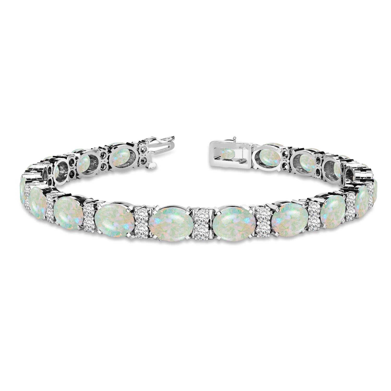 Diamond & Oval Cut Opal Tennis Bracelet 14k White Gold (13.62ct)