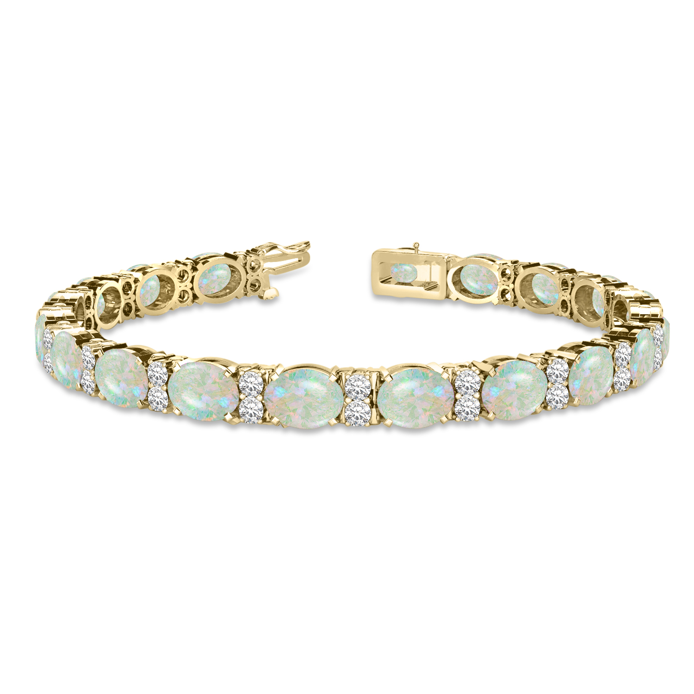 Diamond & Oval Cut Opal Tennis Bracelet 14k Yellow Gold (13.62ct)