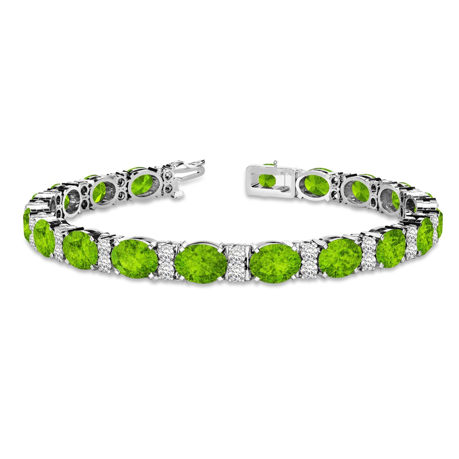 Diamond & Oval Cut Peridot Tennis Bracelet 14k White Gold (13.62ctw)