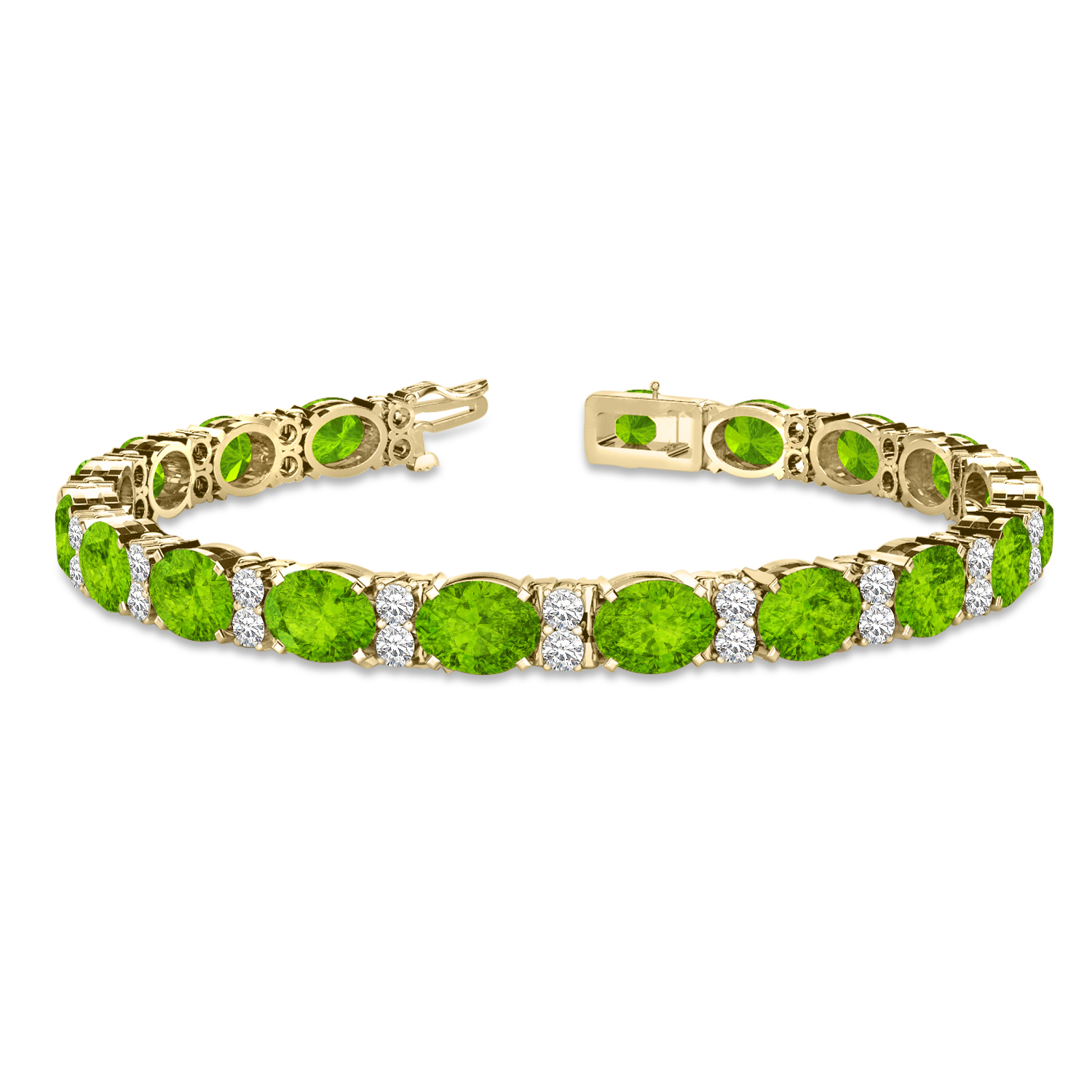 Diamond & Oval Cut Peridot Tennis Bracelet 14k Yellow Gold (13.62ctw)