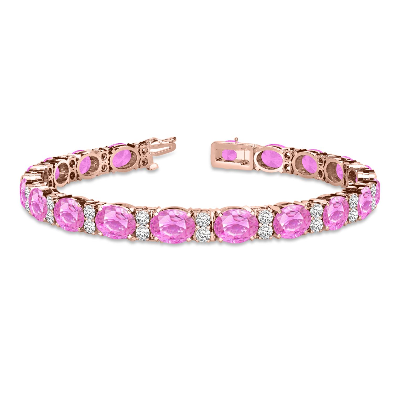 Diamond & Oval Cut Pink Sapphire Tennis Bracelet 14k Rose Gold (13.62ct)