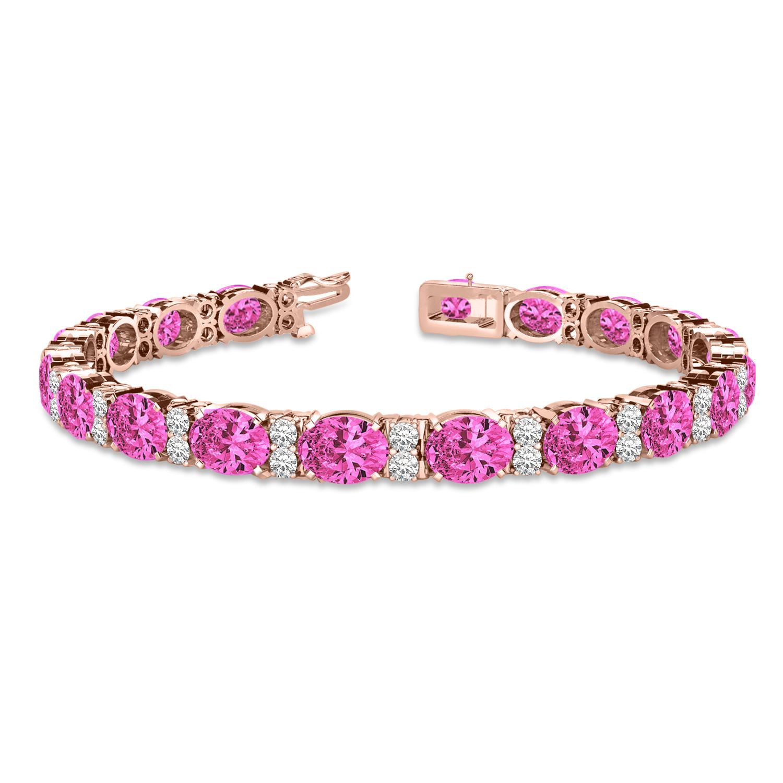 Diamond & Oval Cut Pink Tourmaline Tennis Bracelet 14k R Gold (13.62ct)
