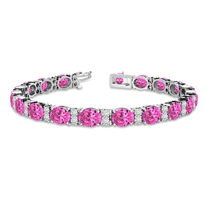 Diamond & Oval Cut Pink Tourmaline Tennis Bracelet 14k W Gold (13.62ct)
