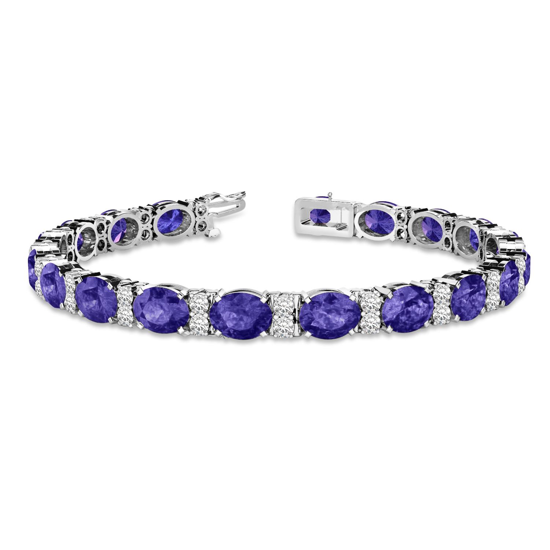 Diamond & Oval Cut Tanzanite Tennis Bracelet 14k White Gold (13.62ct)