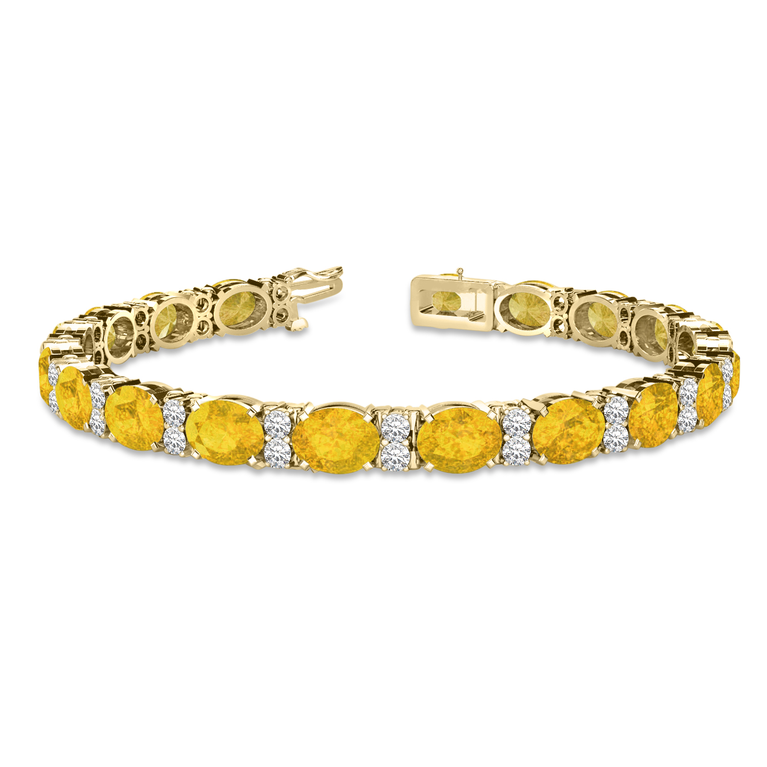 0dd385949e7e24 Diamond & Oval Cut Yellow Sapphire Tennis Bracelet 14k Yellow Gold 13.62ct  - NG10626