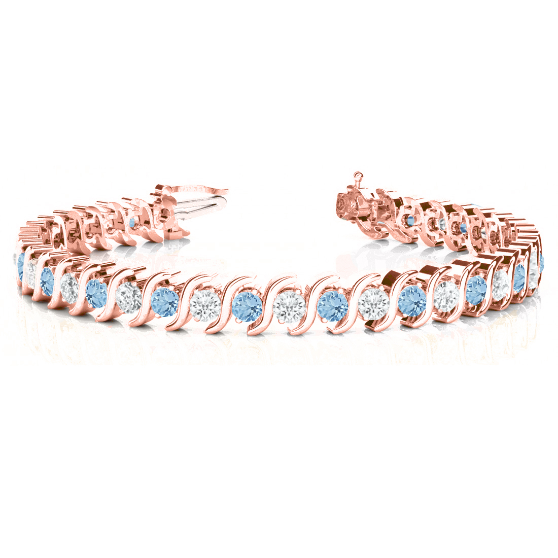 Aquamarine & Diamond Tennis S Link Bracelet 14k Rose Gold (4.00ct)