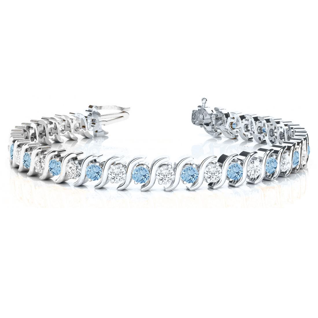 Aquamarine & Diamond Tennis S Link Bracelet 14k White Gold (4.00ct)