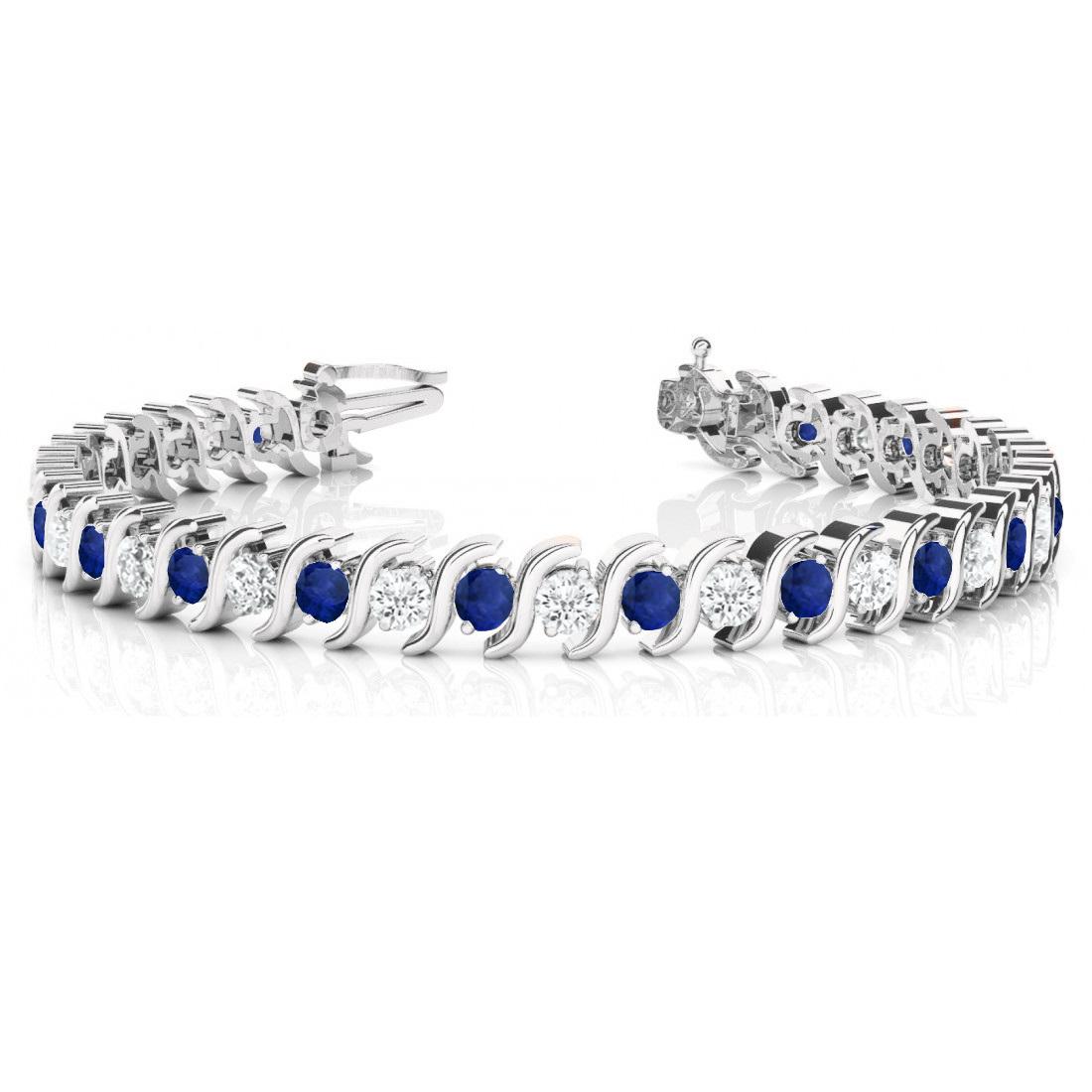 Blue Sapphire & Diamond Tennis S Link Bracelet 14k White Gold (4.00ct)