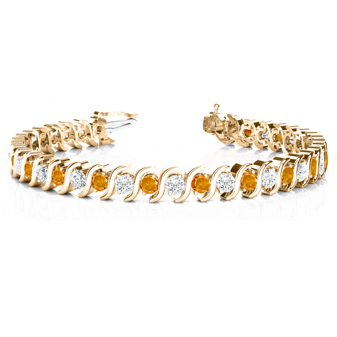 Citrine & Diamond Tennis S Link Bracelet 14k Rose Gold (4.00ct)