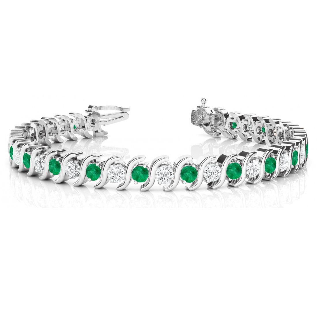 Emerald & Diamond Tennis S Link Bracelet 14k White Gold (4.00ct)