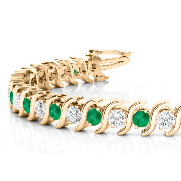 Emerald & Diamond Tennis S Link Bracelet 14k Yellow Gold (4.00ct)