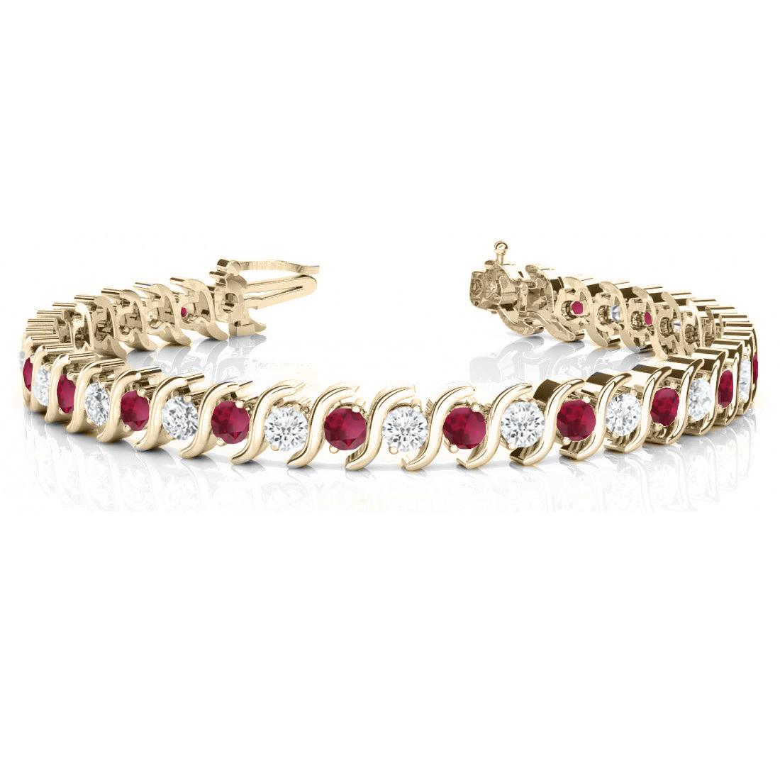 Garnet & Diamond Tennis S Link Bracelet 14k Yellow Gold (4.00ct)