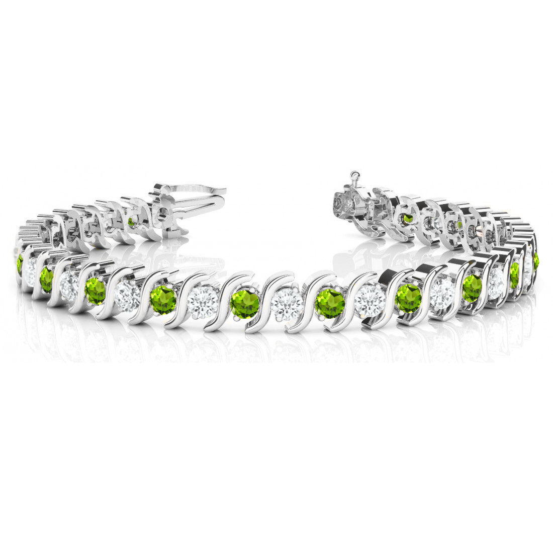 Peridot & Diamond Tennis S Link Bracelet 14k White Gold (4.00ct)