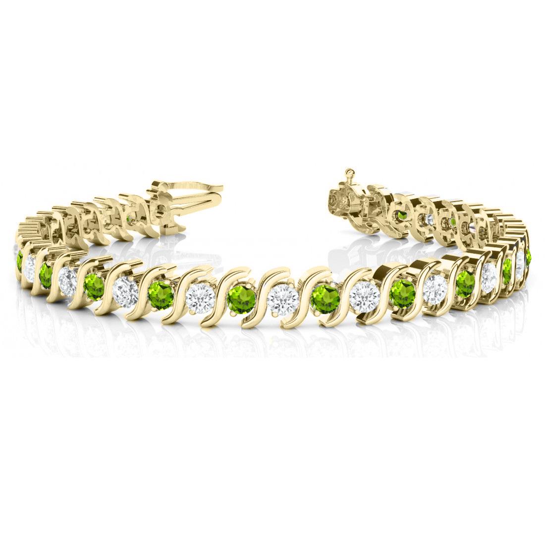 Peridot & Diamond Tennis S Link Bracelet 14k Yellow Gold (4.00ct)