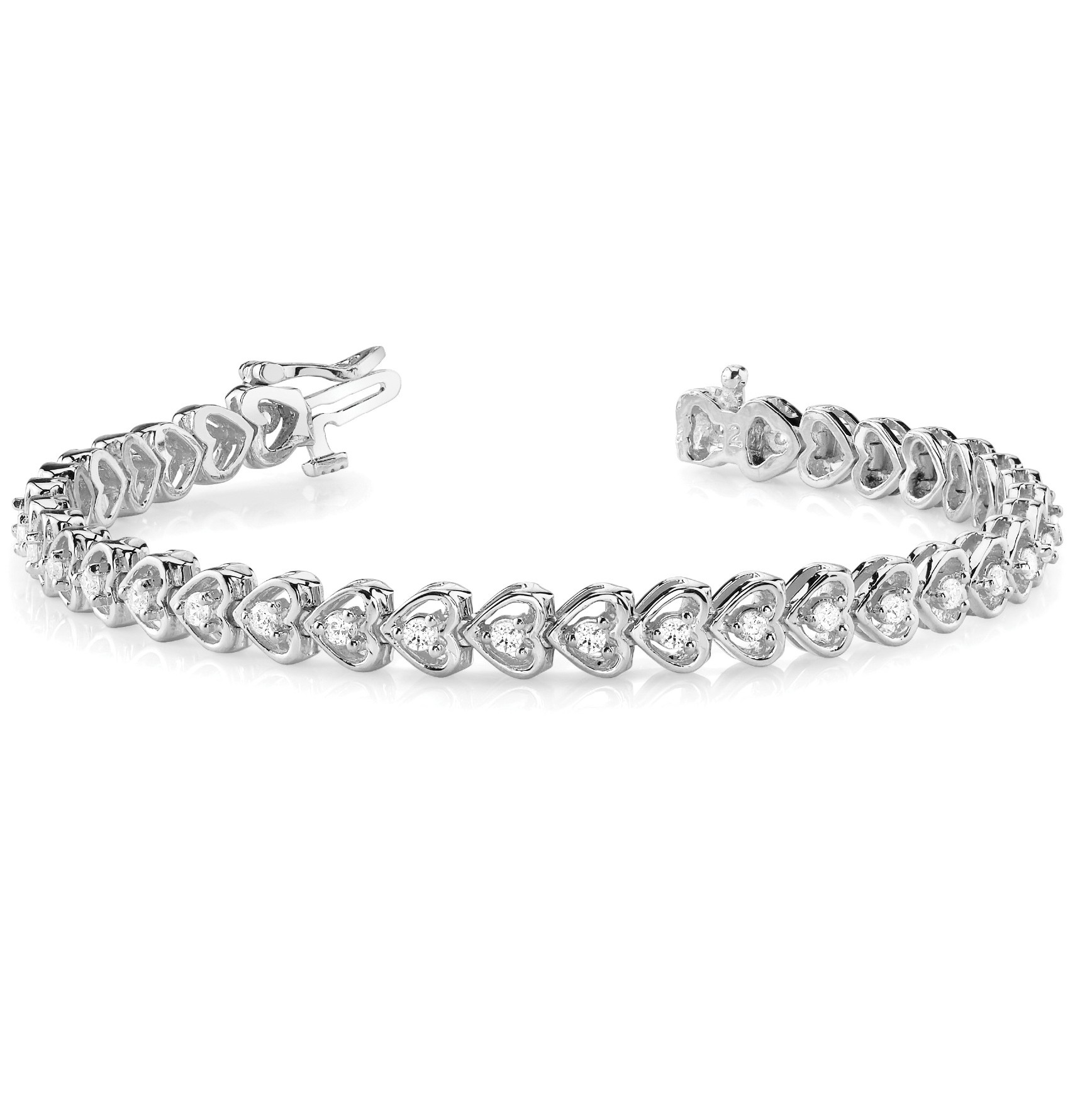 Diamond Tennis Heart Link Bracelet 14k White Gold (1.23ct)