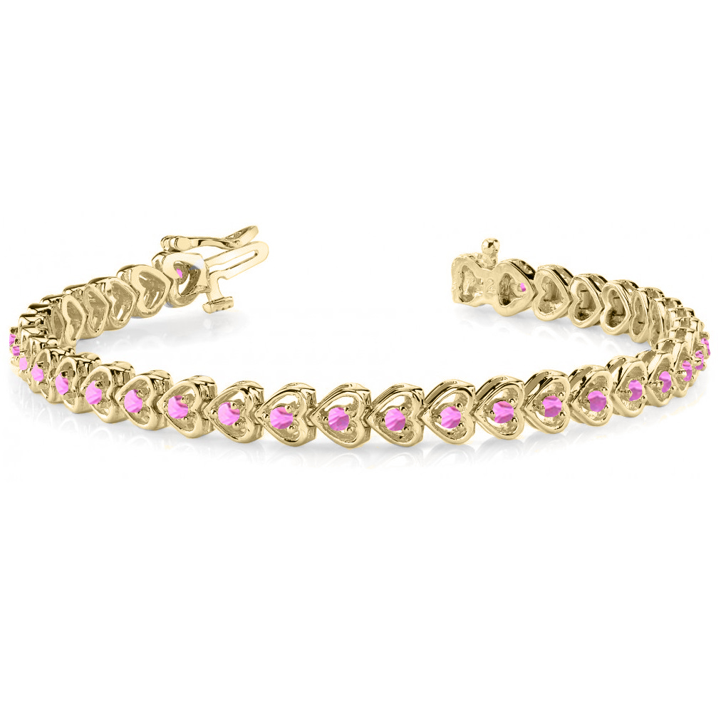 Pink Sapphire Tennis Line Heart Link Bracelet 14k Yellow ...