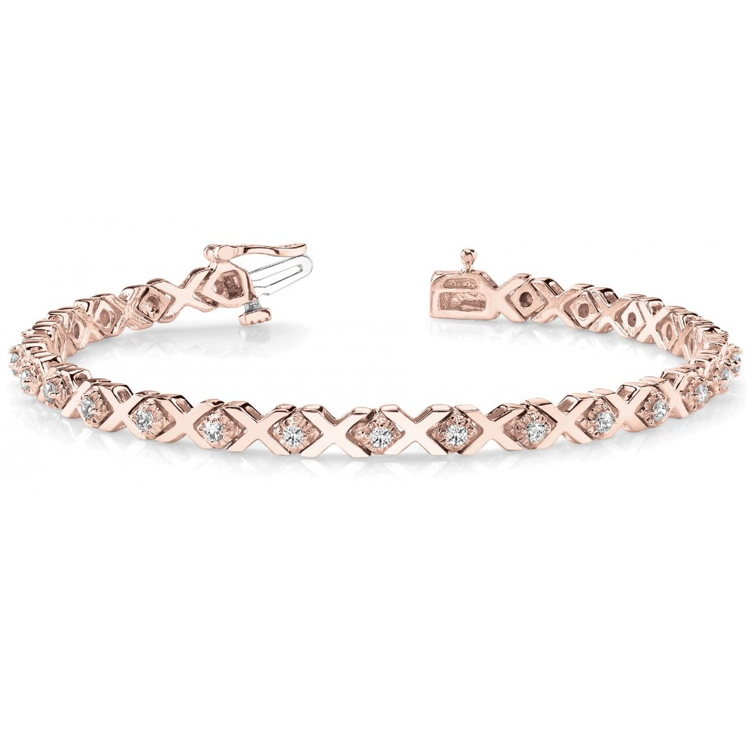 Diamond XOXO Chained Line Bracelet 14k Rose Gold (0.91ct)