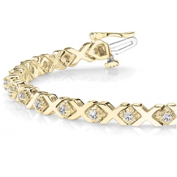 Xoxo Gold Bracelet: Diamond XOXO Chained Line Bracelet 14k Yellow Gold (0.91ct