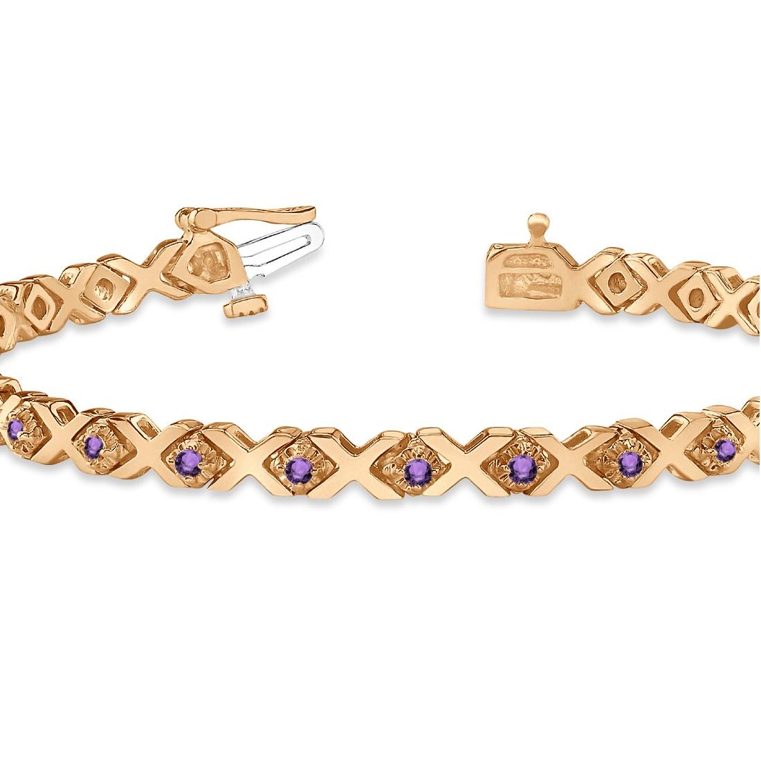Xoxo Gold Bracelet: Amethyst XOXO Chained Line Bracelet 14k Rose Gold (1.50ct