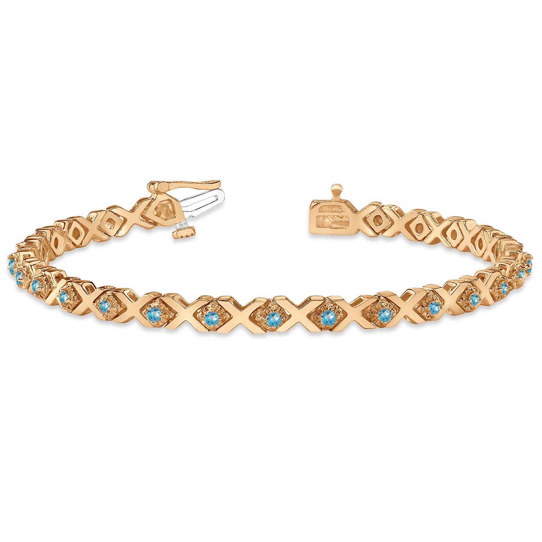 Xoxo Gold Bracelet: Blue Topaz XOXO Chained Line Bracelet 14k Rose Gold (1