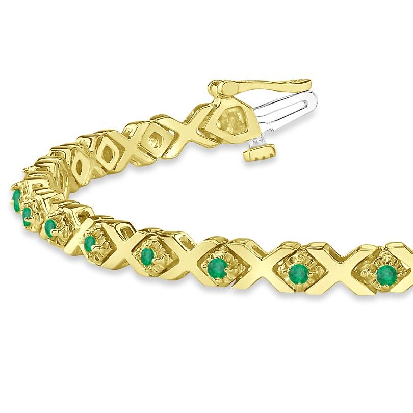 Xoxo Gold Bracelet: Emerald XOXO Chained Line Bracelet 14k Yellow Gold (1.50ct