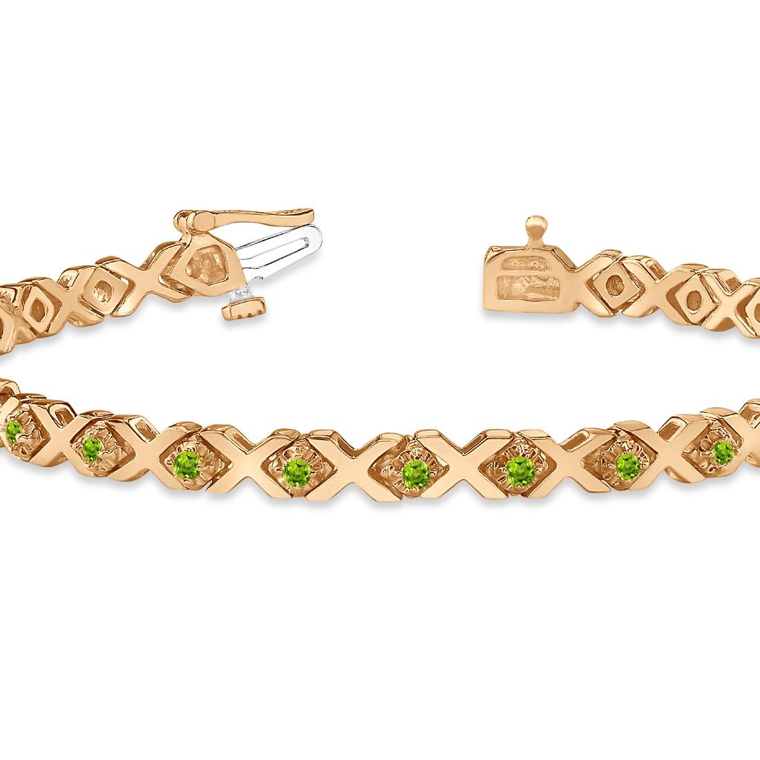 Xoxo Gold Bracelet: Peridot XOXO Chained Line Bracelet 14k Rose Gold (1.50ct