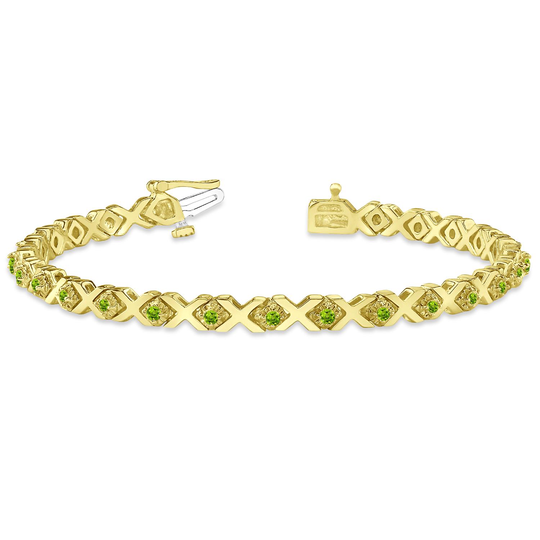 Peridot XOXO Chained Line Bracelet 14k Yellow Gold (1.50ct)