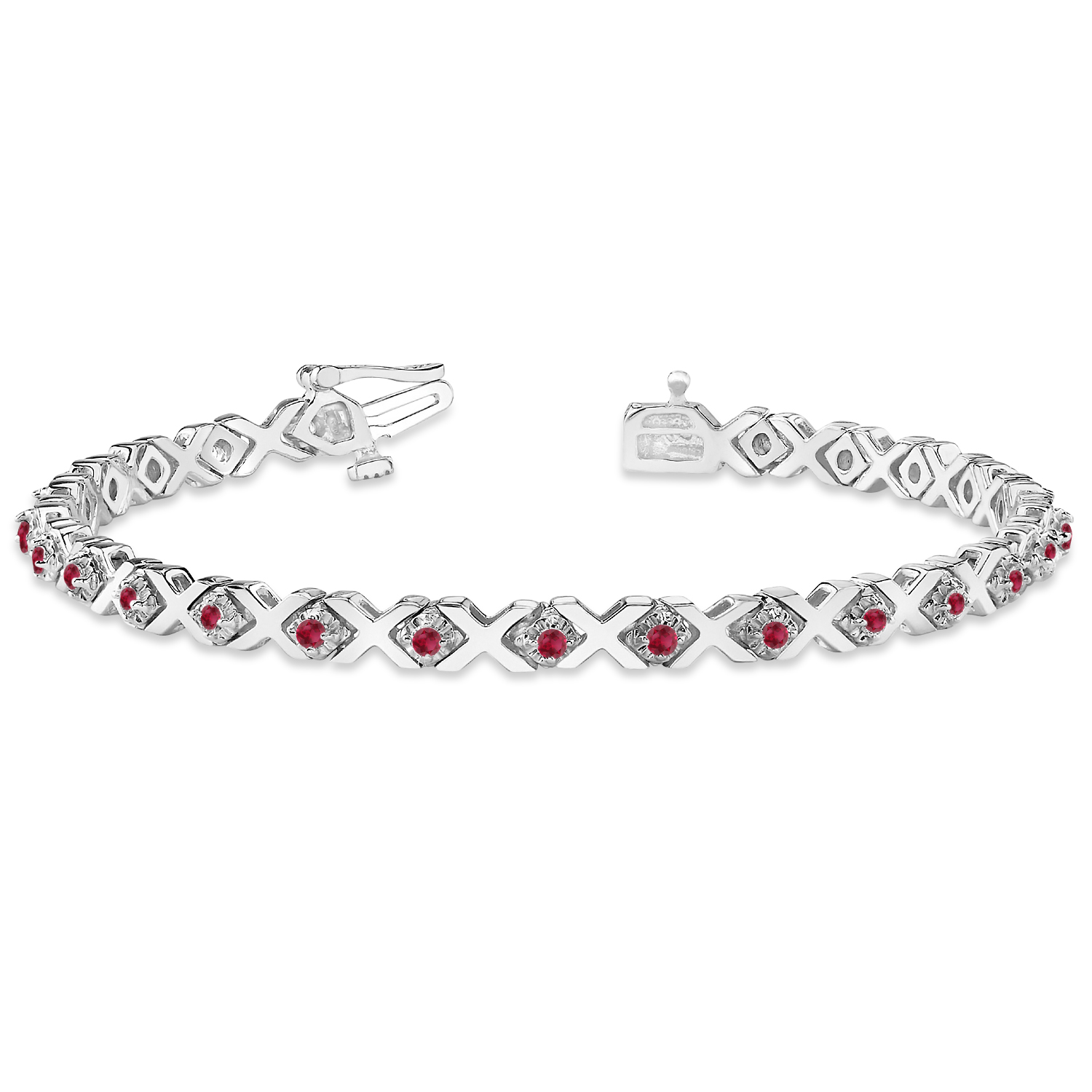 Ruby XOXO Chained Line Bracelet 14k White Gold (1.50ct)