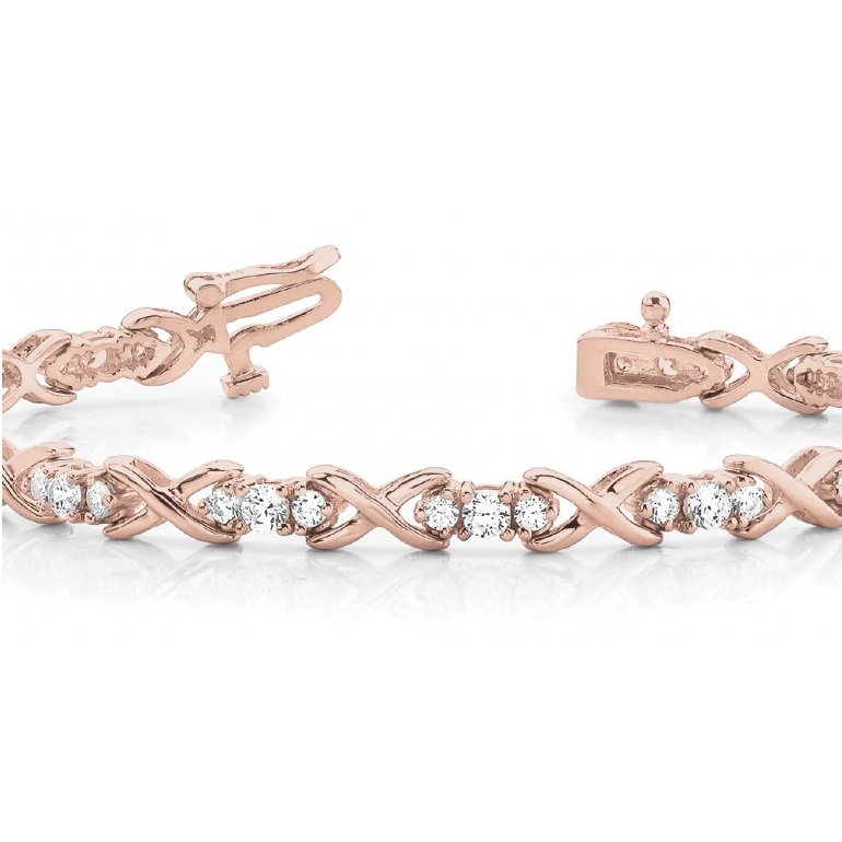 Diamond XOXO Twisted Three Stone Link Bracelet 14k Rose Gold (1.95ct)