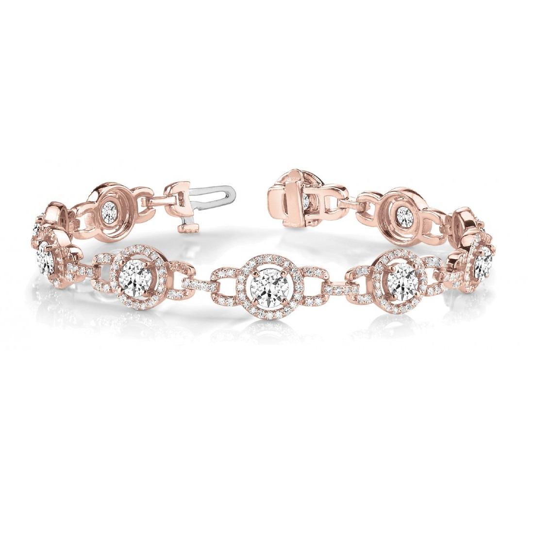 Luxury Halo Diamond Halo Link Bracelet 14k Rose Gold (5.00ct)