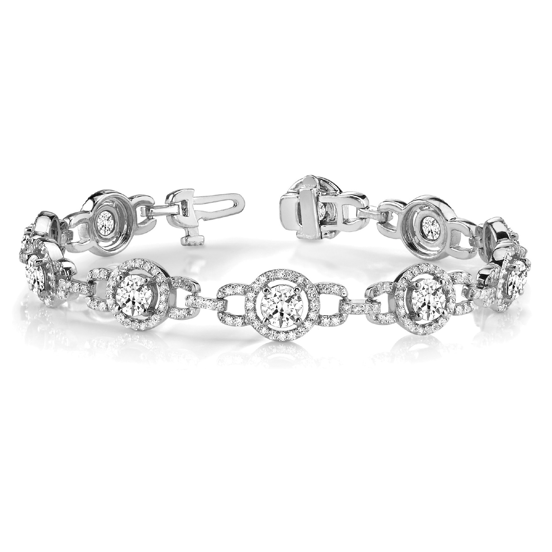 Luxury Halo Diamond Halo Link Bracelet 14k White Gold (5.00ct)