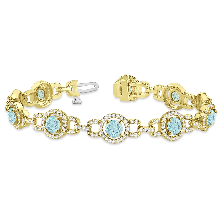 Luxury Halo Aquamarine & Diamond Link Bracelet 14k Yellow Gold (8.00ct)