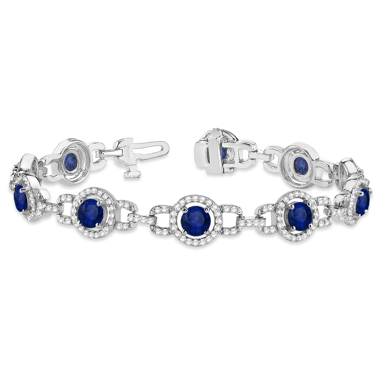 Luxury Halo Blue Sapphire & Diamond Link Bracelet 14k White Gold (8.00ct)