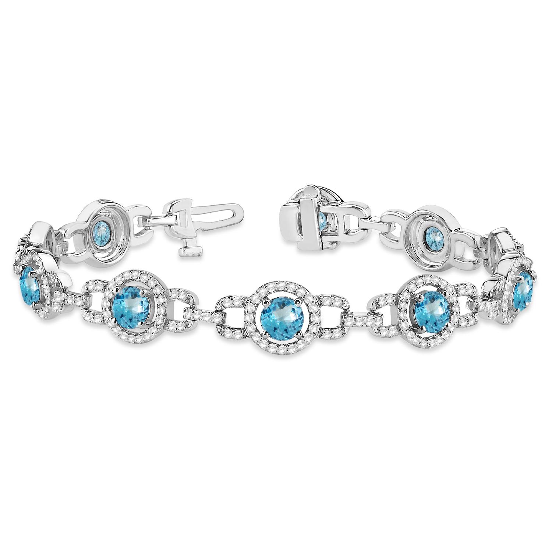 Luxury Halo Blue Topaz & Diamond Link Bracelet 14k White Gold (8.00ct)