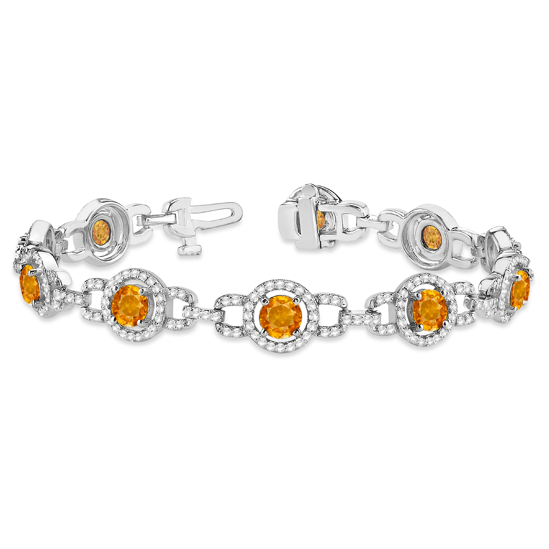 Luxury Halo Citrine & Diamond Link Bracelet 14k White Gold (8.00ct)